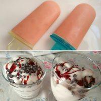 Polos de ciruela y helado de plátano