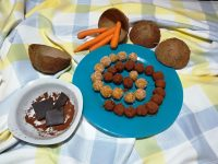 Bolitas de zanahoria con coco y cacao