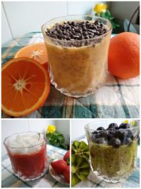 Pudin de chia de naranja, de kiwi y de fresas